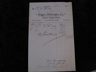 1912 Boise Idaho Receipt- Brigger- Hetherington Co. Electrical Supply House