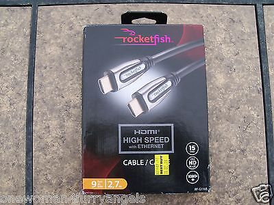 Rocketfish 9 ft. 2.7m HDMI High Speed Cable RF-G1168 15 Gbps 4K 2K 1080p NIB #1