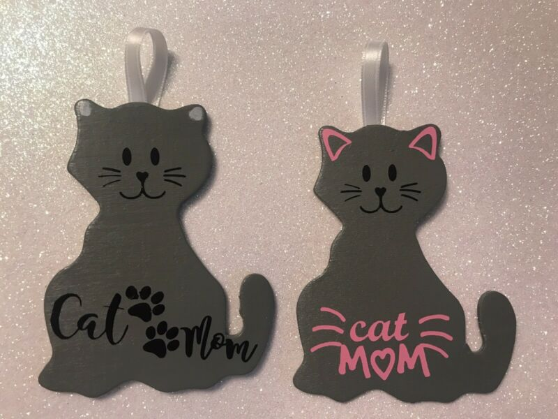 Hand-painted Wood Cat Mom Ornament