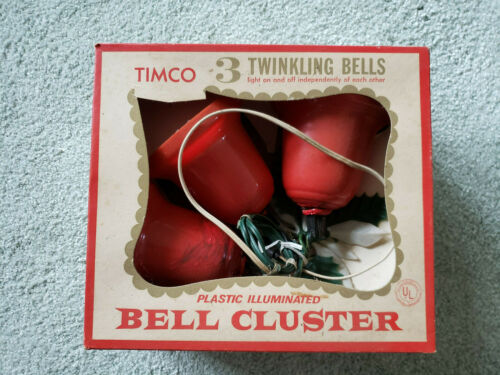 VINTAGE 1950s TIMCO TWINKLING BELLS PLASTIC ILLUMINATED DECORATION
