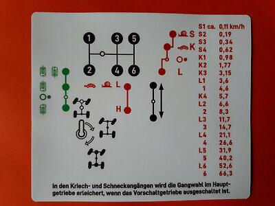 Schaltschema Schild fürs Getriebe beim Unimog 404 NEU