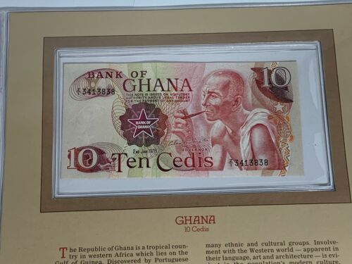 1978 10 CEDIS GHANA BANK NOTE SERIAL NUMBER Z/I 3413838 GEM UNC CHOICE (MR)