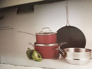 Brand new cookset colour red glass lids Lalor Whittlesea Area Preview