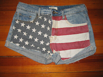 Forever 21 Womens Size 27 Shorts Denim Jean American Flag Printed Classic Rise (Womens American Flag Running Shorts)