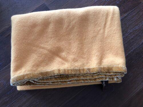 "Vintage Marzotto Wool Blanket with velvet trim Italy 86"" x 62"""