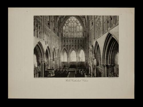 Wells Cathedral, Choir Interior View 1886 ORIGINAL Photogravure