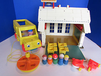 Vintage Fisher Price Little People Play Family School House, Bus and Accessories