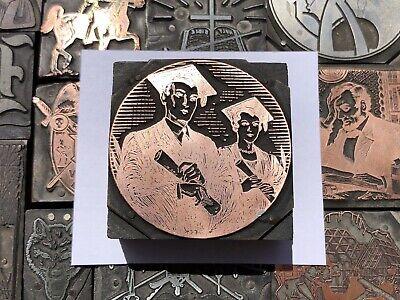 Antique Vtg School Graduation Ceremony Letterpress Print Type Cut Ornament Block