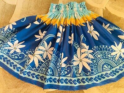 "White Hula Skirt (NEW BLUE WHITE TIARE HAWAIIAN PAU PA'U  HULA SKIRT  28"" LONG MADE IN)"