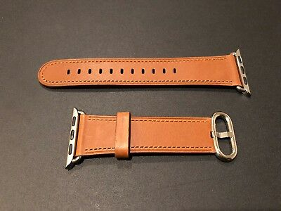 Saddle Band (Authentic Apple Watch Saddle Brown Genuine Leather Band - 38mm Classic Buckle)