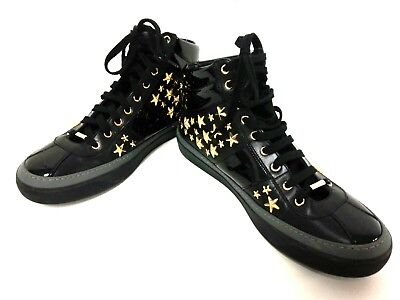 Auth JIMMY CHOO BELGRAVIA Black Gold Leather Patent Leather Hardware Sneakers