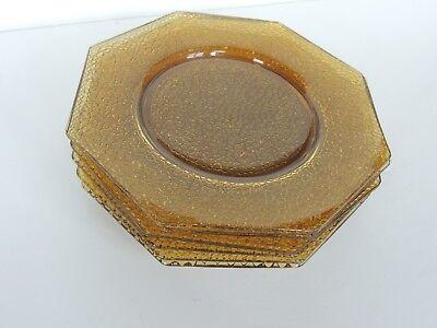 "6 vintage Octagon crackle glass 8"" Plate depression amber excellent & clean"