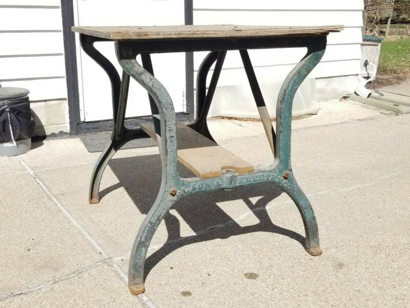Vtg Cast Iron Legs Table industrial Kitchen Shuffleboard Repurpose Steampunk OLD