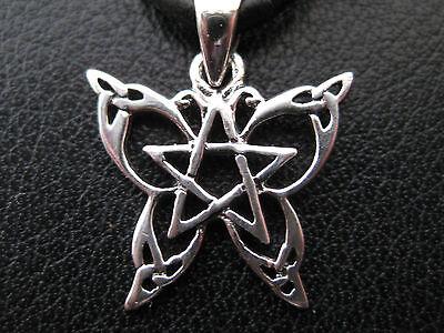 Schmetterling mit Pentagramm Silber 925'er Ketten Anhänger / KA 074
