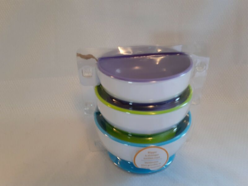 Munchkin New Toddler Dishes 3 Pack, purple, blue, green suction bottom