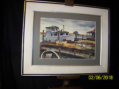 Lester G.Chapin Oyster Bay Oyster Boat Original c1953 Watercolor Seascape