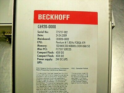 Beckhoff C6920-0000 Control Cabinet Industrial Pc Usa Seller