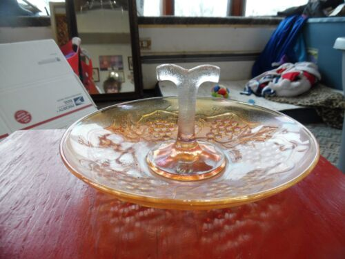 Vintage Indiana Glass peach color tray with handle & grape design
