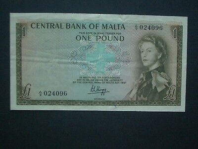 **Superb 'GVF' **1969 £1 Malta  A/9 Banknote****