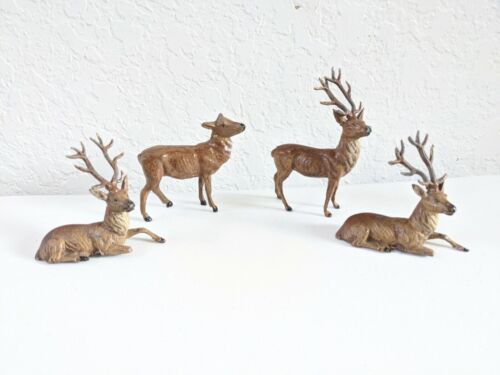 4- ANTIQUE VINTAGE CAST IRON METAL BUCK STAG DEER MARKED GERMAN