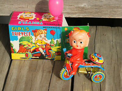 HERO TOY ~ Vintage Mechanical Girls Tricycle Balloon Spinning Bell ~ SHIPS -
