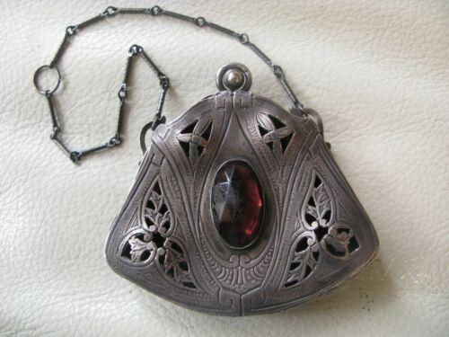 Antique Silver T Purple Jeweled Chatelaine Scent Perfume Purse Vinaigrette
