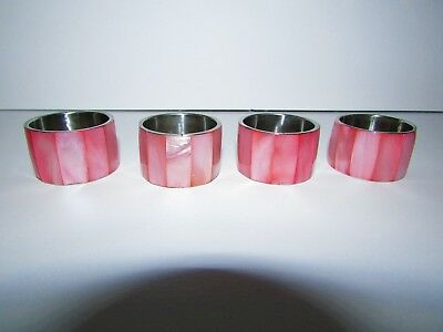 Set of 4 Pink Mother of Pearl & Silver Metal Napkin Ring Holders #149