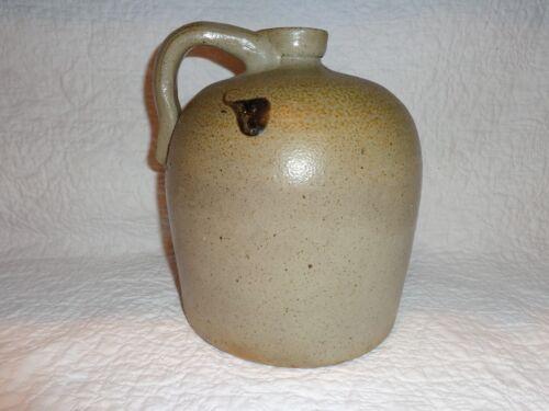 Small Antique Salt Glazed Stoneware Whiskey Turkey Drip Glaze Decorated Jug