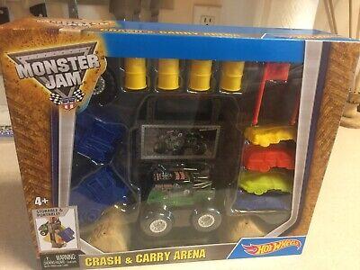 HOT WHEELS Monster Jam CRASH & CARRY ARENA SET w/ Grave Digger Truck BRAND NEW!