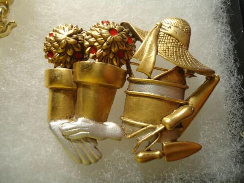 Danecraft vintage/nos gold silver tone Garden supply pin