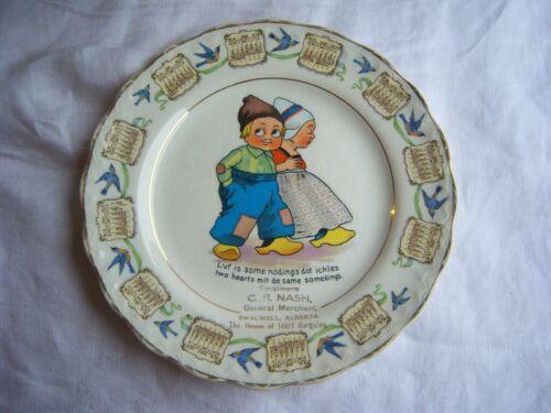 1916 Calendar Plate (Dutch Children) Souvenir General Merchant Swalwell Alberta