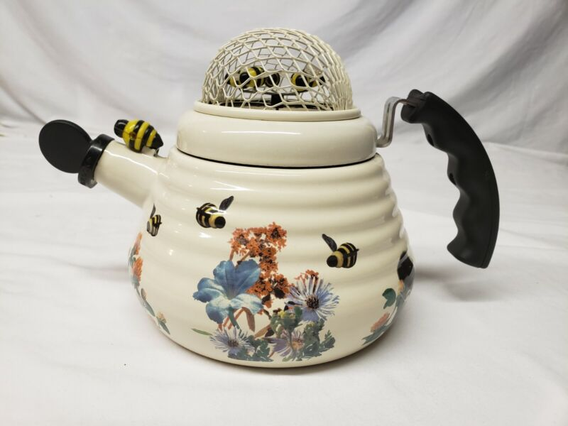 MM Kamenstein BUMBLE BEE tea kettle teapot VERY RARE Metal Spin Spinning Bees