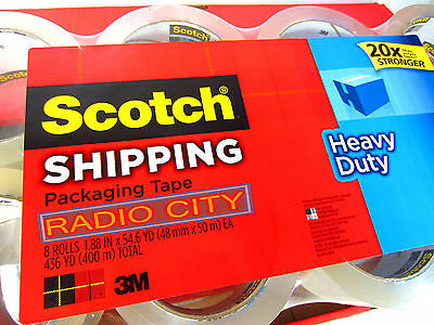 Scotch 3m Clear Heavy Duty Shipping Packing Tape 8 Rolls Total 436 Yd 400 M