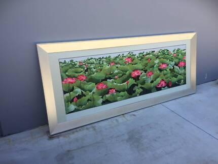 Floral Needlework Picture HUGE Frame