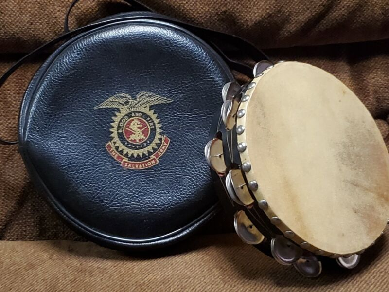 antique Tambourine  SALVATION ARMY BAG wood & jingles