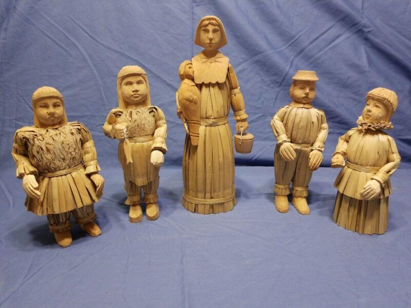 Lot Of 5 Corn Husk And Wood Figures
