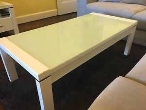 Harvey Norman Tv unit white with acqua frosted glass top Cremorne North Sydney Area Preview