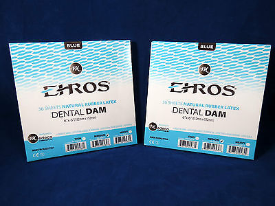 Dental Natural Rubber Dam Blue Medium 6 X 6 Sheets Latex Kit 2 Box Ehros