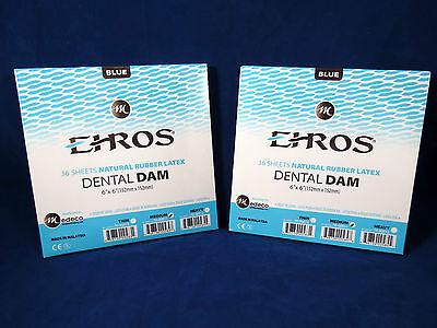 Dental Natural Rubber Dam Blue Medium 6 X 6 Sheets Latex Kit 2 Box Ehros
