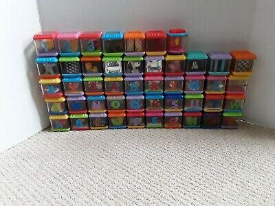 FISHER PRICE GRAB BOX LOT OF 47 PEEK-A-BLOCKS ABC/123/ ANIMAL/SENSORY/OTHER