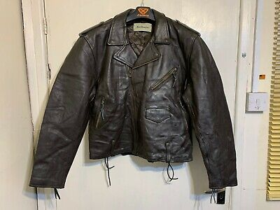 VINTAGE 80's DISTRESSED MacDouglas LEATHER MOTORCYCLE JACKET SIZE L