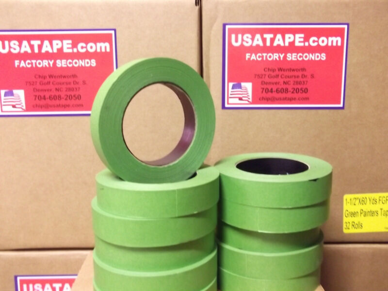 """Lot Of 48 Rolls 1"""" X60 Yrd Green Painters Masking Tape MADE IN USA FAMOUS BRAND!"""