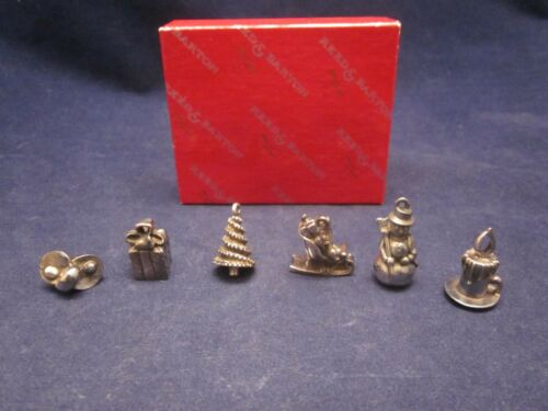 REED & BARTON Silver Tone Christmas Winter Charms Set of 6 ~ NEW in BOX