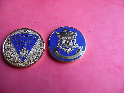 Massachusetts State Police Challenge Coin badge patch SILVER color