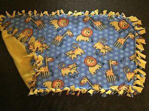 Giraffes, lions, and tigers handmade fleece blanket