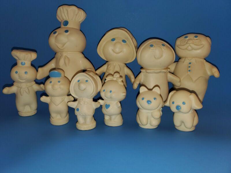 1971-74 Pillsbury Doughboy  Figure Family 10 Piece Poppin Fresh fingerpuppets