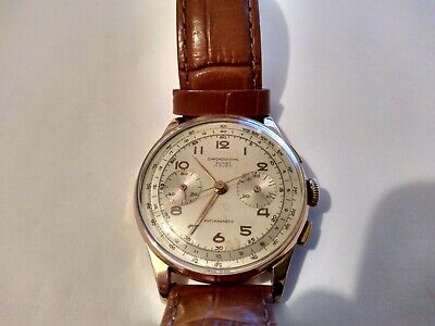 18CT SOLID ROSE GOLD CHRONOGRAPH SUISSE WATCH - 38MM DIAMETER - MANUAL WINDING