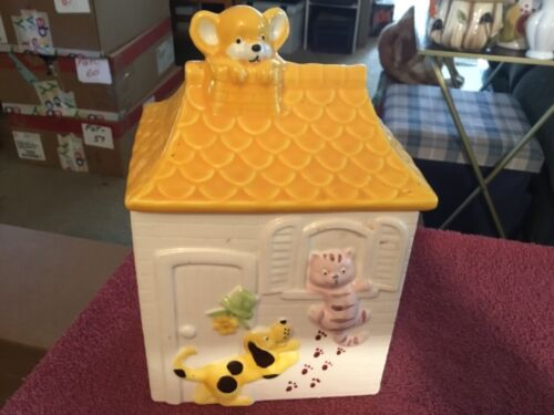 Dog, Cat and Teddy Bear Ceramic House Cookie Jar