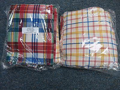 California King Plaid Bedskirt - California Cal King Bed skirt Dust Ruffle WITH TWO SHAMS MULTI PLAID brand new!!