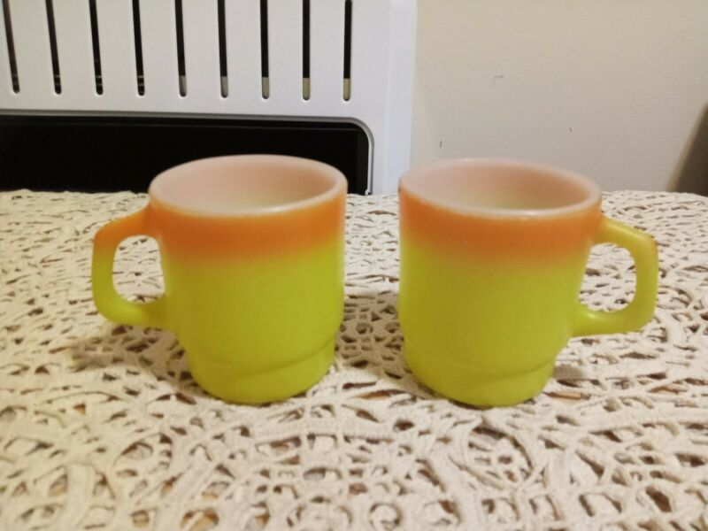 Lot 2 Vintage Anchor Hocking Fire King Ware Yellow Orange Stackable Mug Cup
